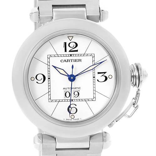 Photo of Cartier Pasha C Midsize Big Date Steel Watch White Dial W31055M7