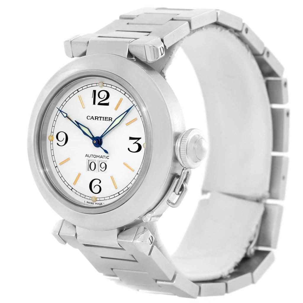 13419 Cartier Pasha C Midsize Steel Watch Big Date W31044M7 SwissWatchExpo