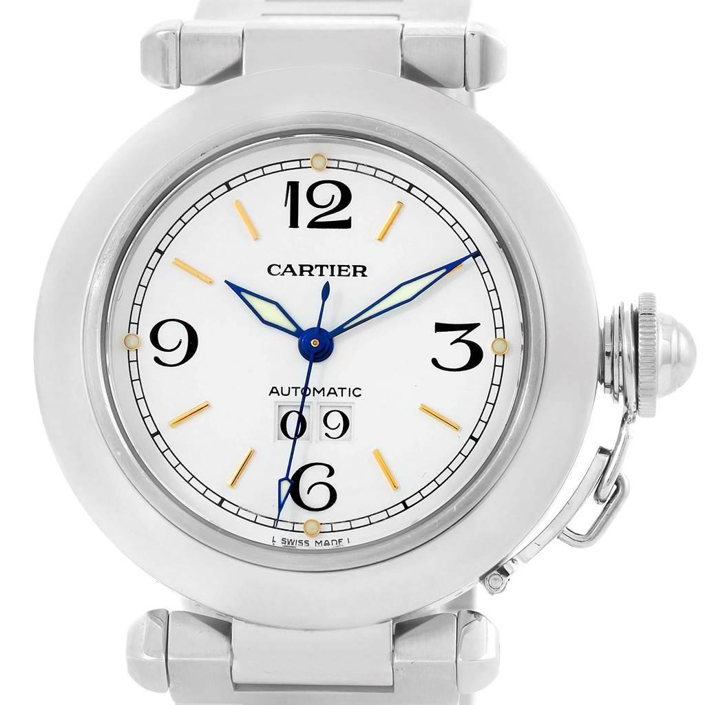 13420 Cartier Pasha C Midsize Big Date White Dial Steel Watch W31044M7 SwissWatchExpo
