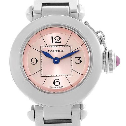 Photo of Cartier Miss Pasha Small Steel Pink Dial Quartz Watch W3140008