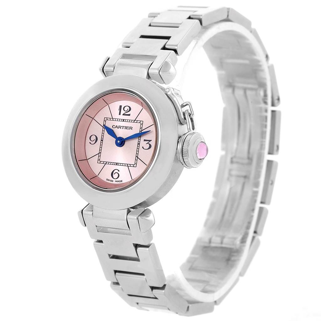 10626 Cartier Miss Pasha Steel Pink Dial Quartz Ladies Watch W3140008 SwissWatchExpo