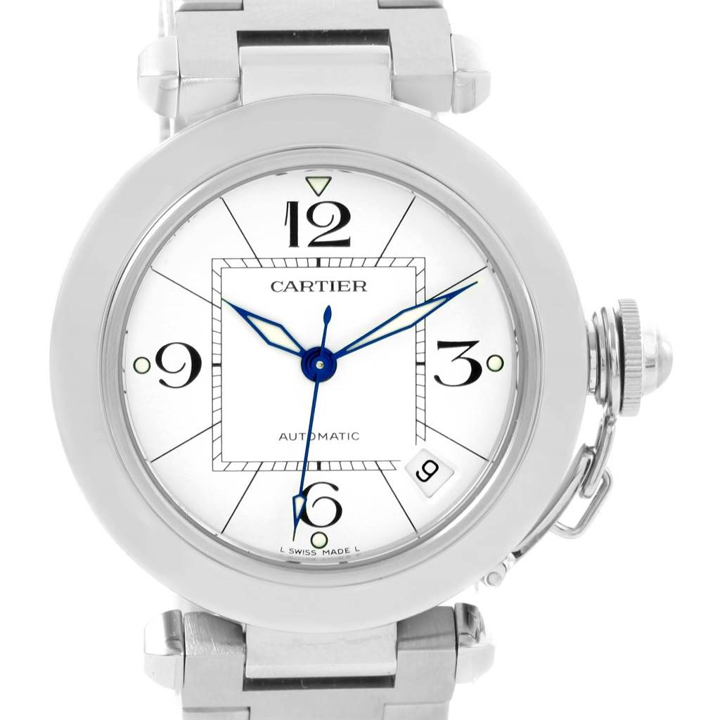 12419 Cartier Pasha C White Dial Stainless Steel Date Watch W31074M7 SwissWatchExpo