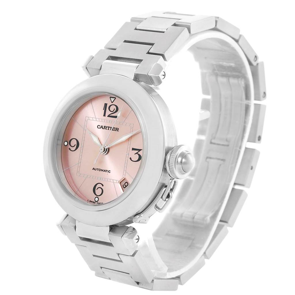 13422 Cartier Pasha C Pink Dial Midsize Steel Ladies Watch W31075M7 SwissWatchExpo