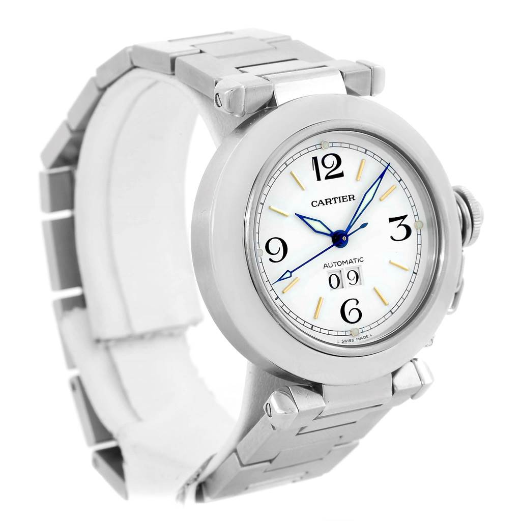 12568 Cartier Pasha C Midsize White Dial Automatic Steel Watch W31044M7 SwissWatchExpo
