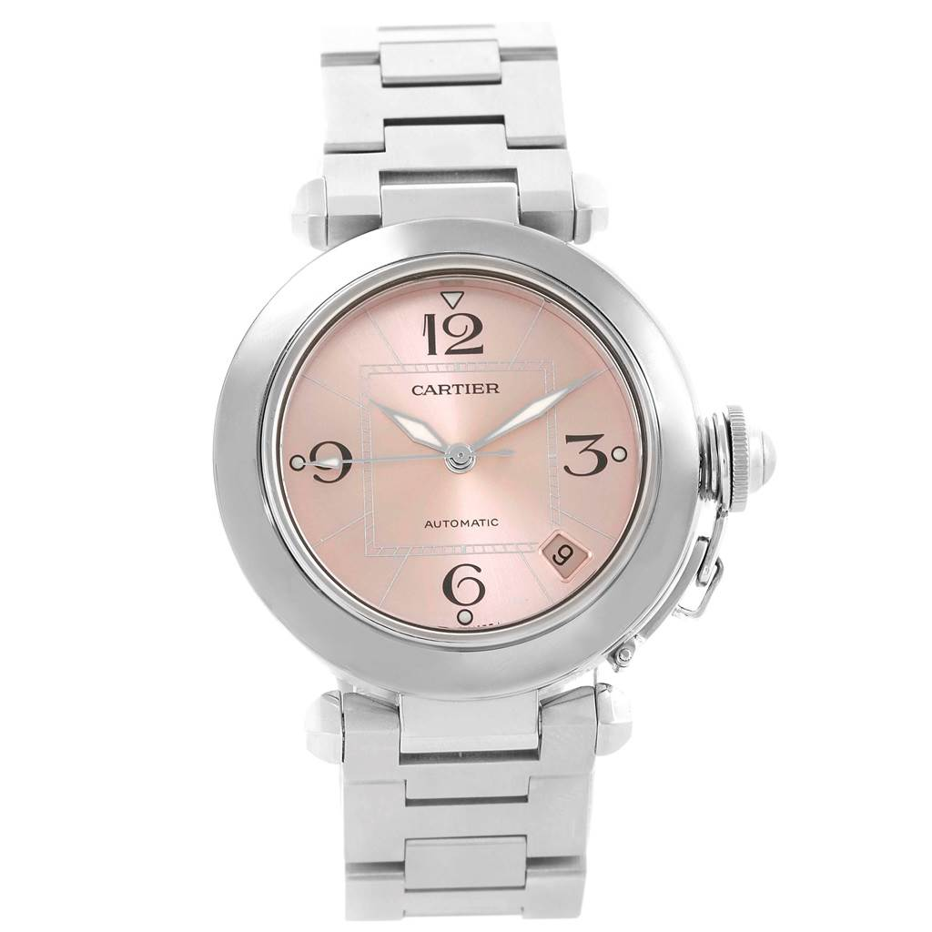 febd8811d2a3 ... 18445 Cartier Pasha C Pink Dial Midsize Ladies Watch W31075M7 Box  Papers SwissWatchExpo ...