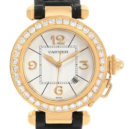 Photo of Cartier Pasha 32 18K Yellow Gold Black Strap Diamond Ladies Watch