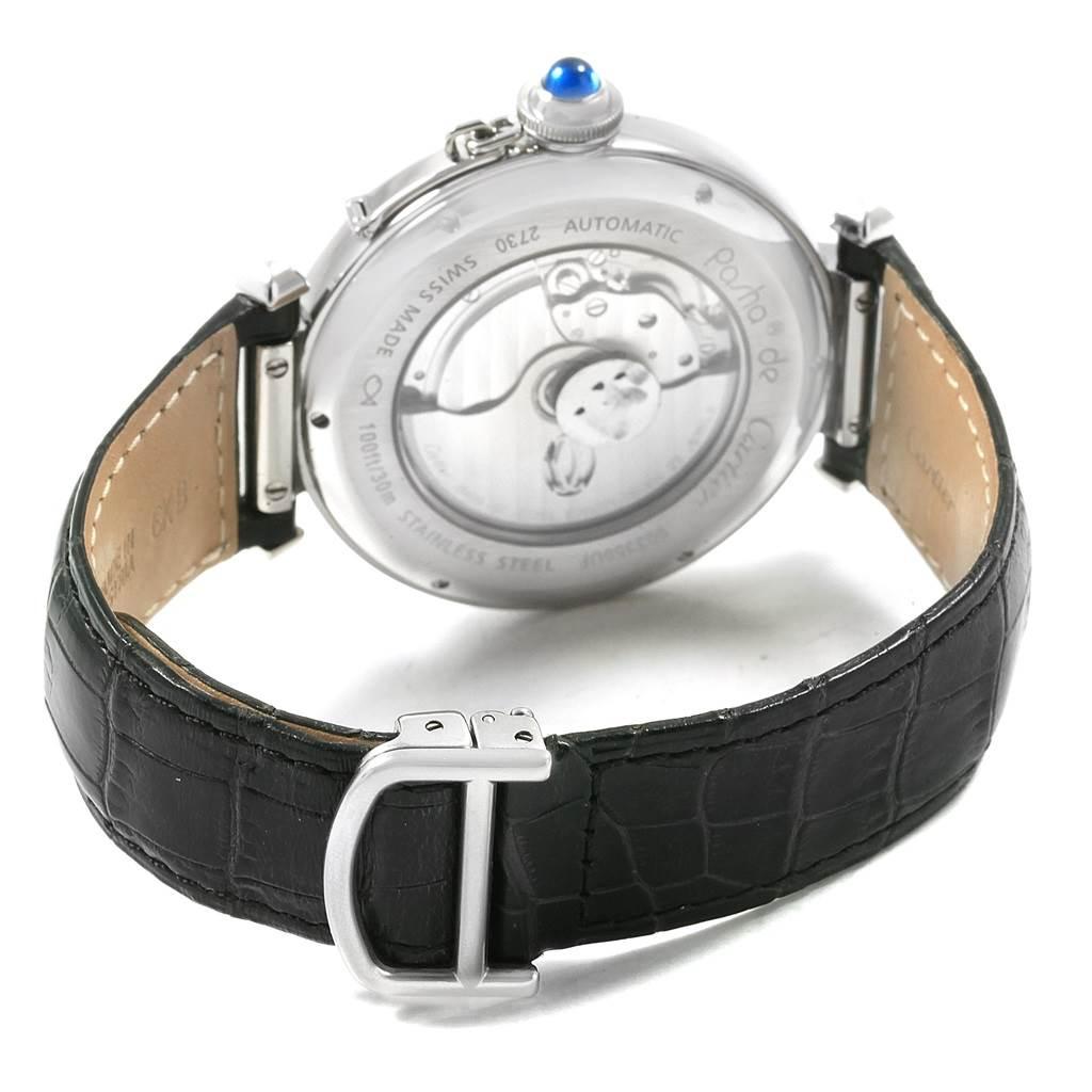 Cartier Pasha 42 Silver Dial Black Strap Steel Mens Watch W3107255 SwissWatchExpo