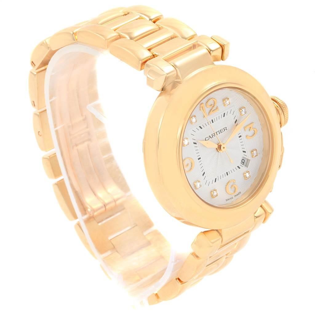 20251 Cartier Pasha 32 18K Yellow Gold Diamond Automatic Ladies Watch 2397 SwissWatchExpo