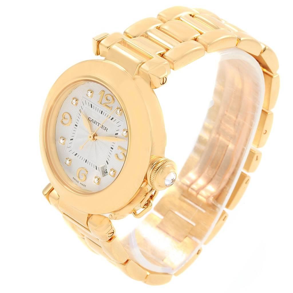 ... 20251 Cartier Pasha 32 18K Yellow Gold Diamond Automatic Ladies Watch  2397 SwissWatchExpo ...