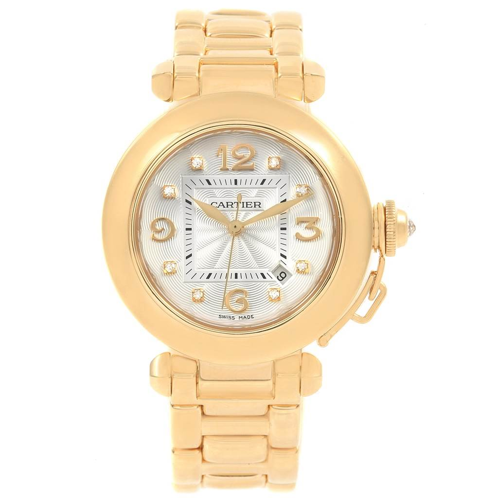 ... 20251 Cartier Pasha 32 18K Yellow Gold Diamond Automatic Ladies Watch  2397 SwissWatchExpo ...