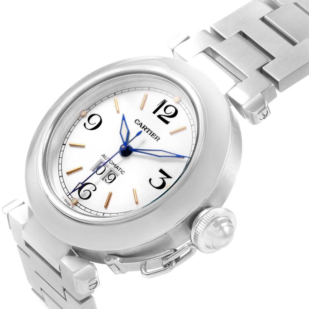 20755 Cartier Pasha C Midsize White Dial Automatic Steel Watch W31044M7 SwissWatchExpo