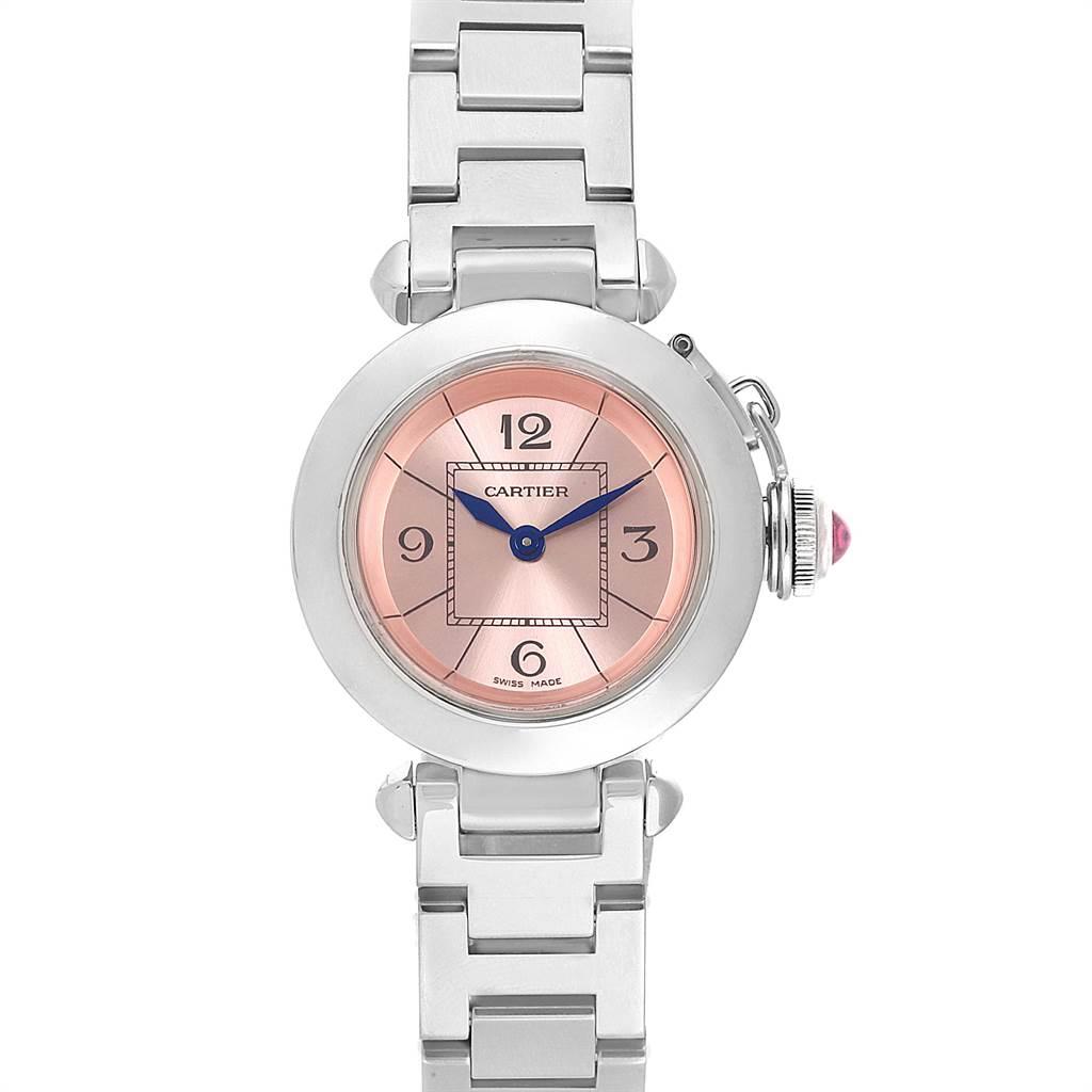 22061 Cartier Miss Pasha Steel Pink Dial Quartz Ladies Watch W3140008 SwissWatchExpo