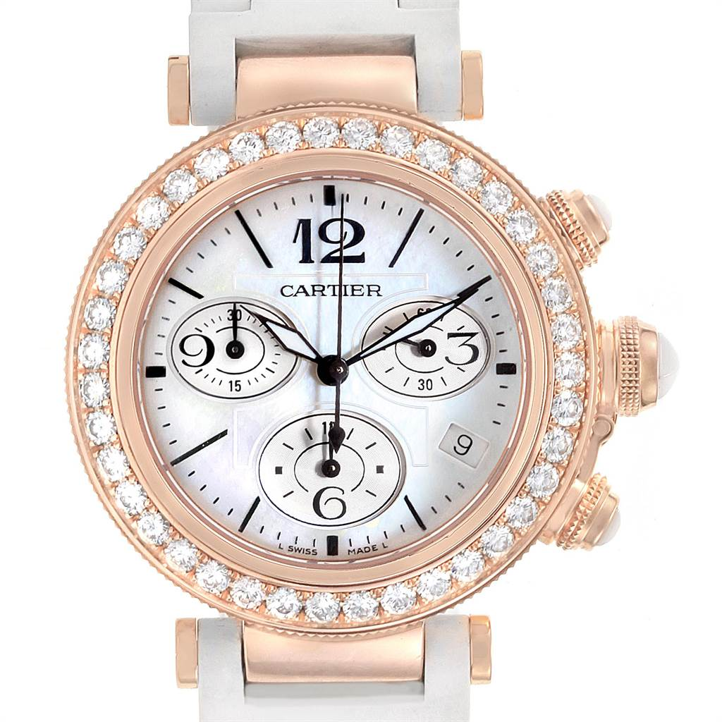 22607 Cartier Pasha Seatimer 37mm Rose Gold Diamond Ladies Watch WJ130004 SwissWatchExpo