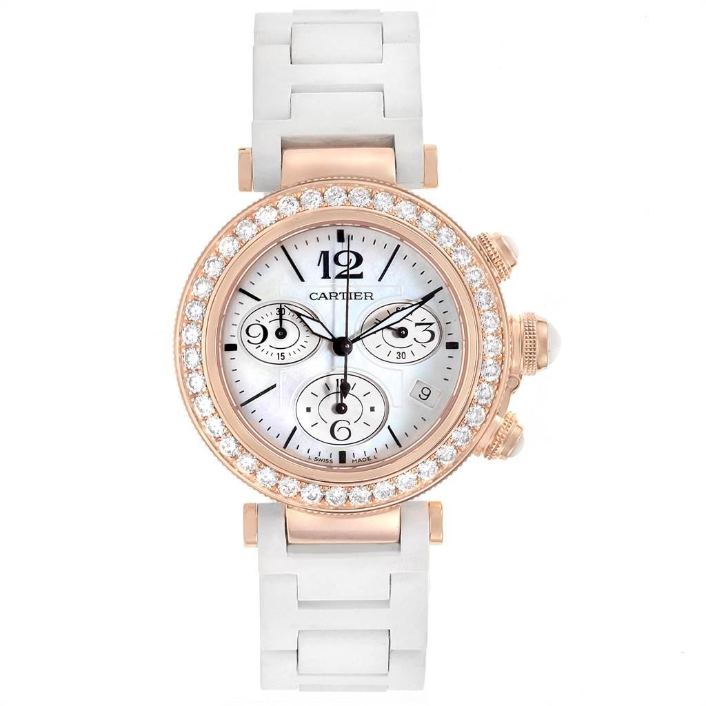 Cartier Pasha Seatimer 37mm Rose Gold Diamond Ladies Watch WJ130004 SwissWatchExpo