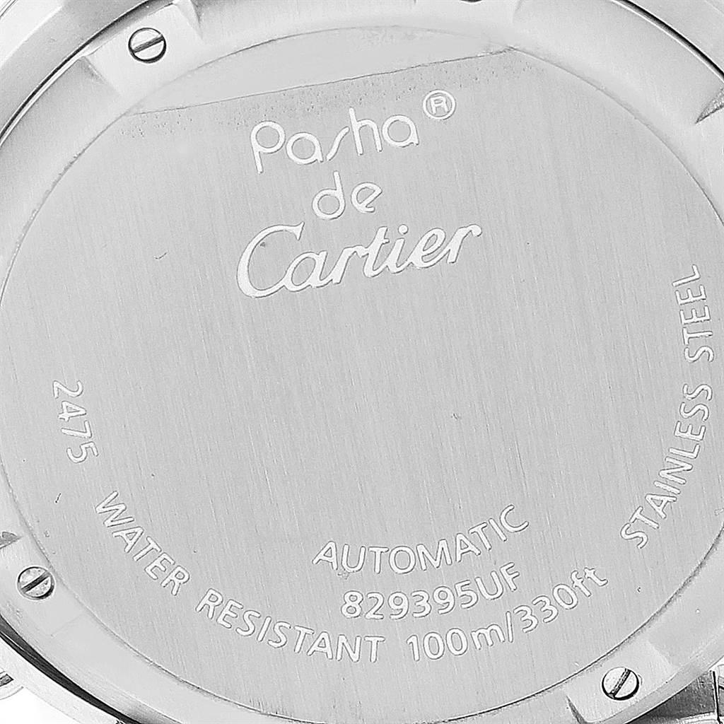23839 Cartier Pasha Big Date Pink Dial Medium Steel Ladies Watch W31058M7 SwissWatchExpo