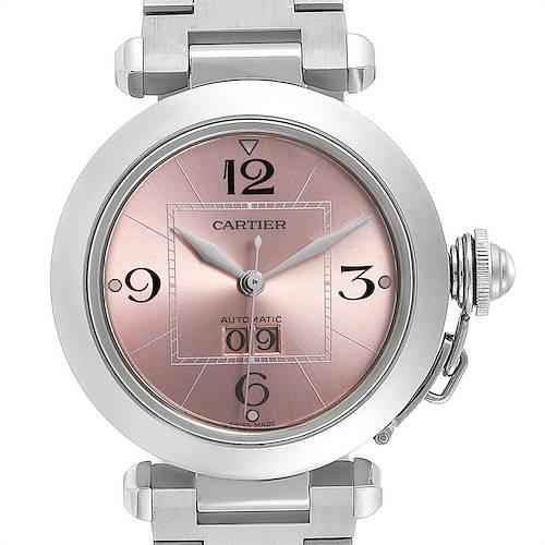 Photo of Cartier Pasha Big Date Pink Dial Medium Steel Ladies Watch W31058M7