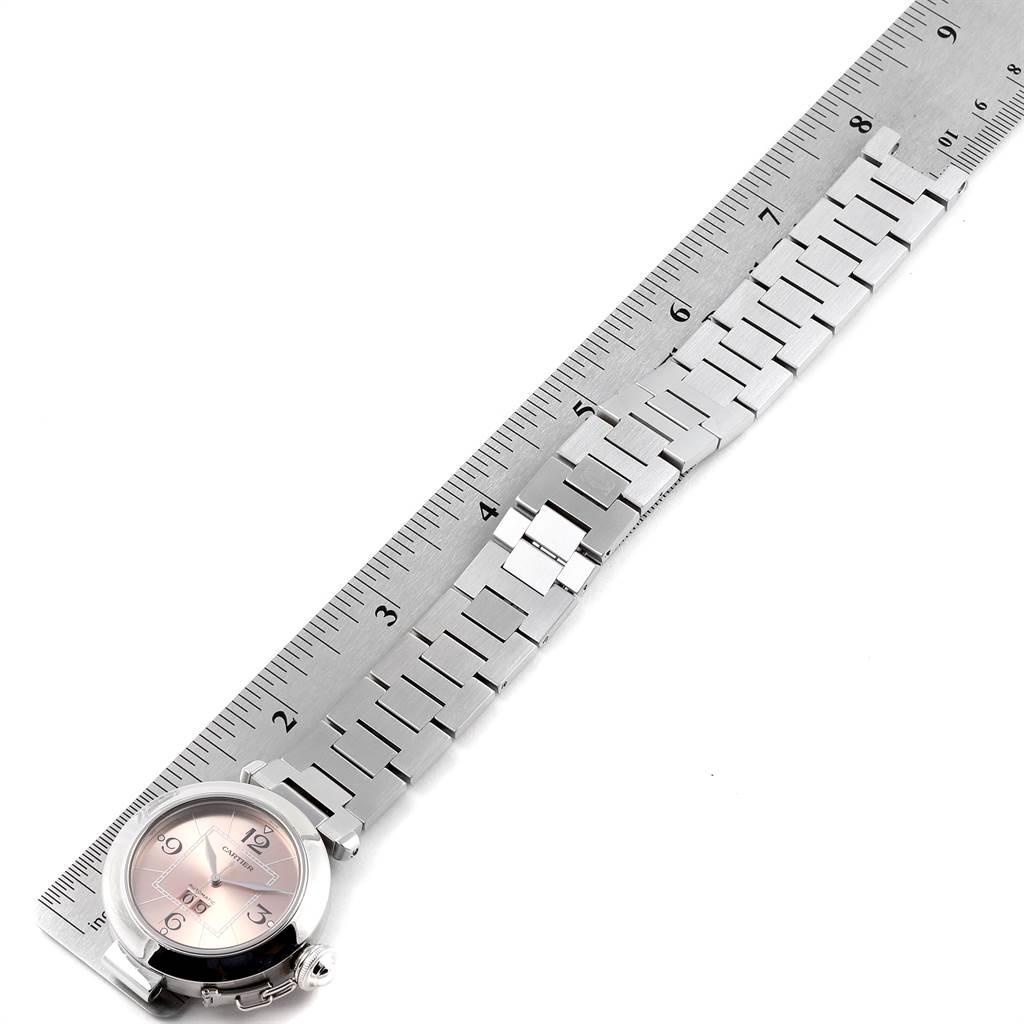 Cartier Pasha Big Date 35mm Pink Dial Steel Ladies Watch W31058M7 SwissWatchExpo