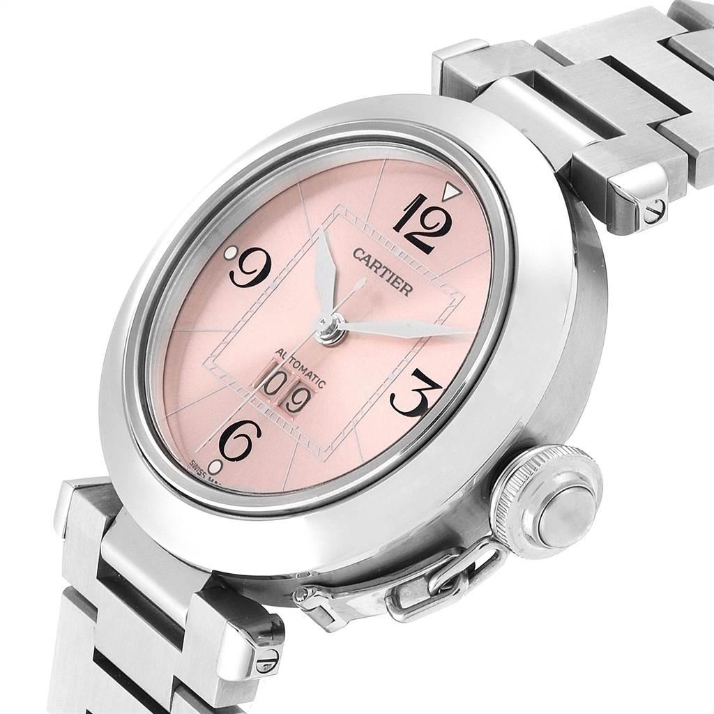 23731 Cartier Pasha Big Date 35mm Pink Dial Steel Ladies Watch W31058M7 SwissWatchExpo