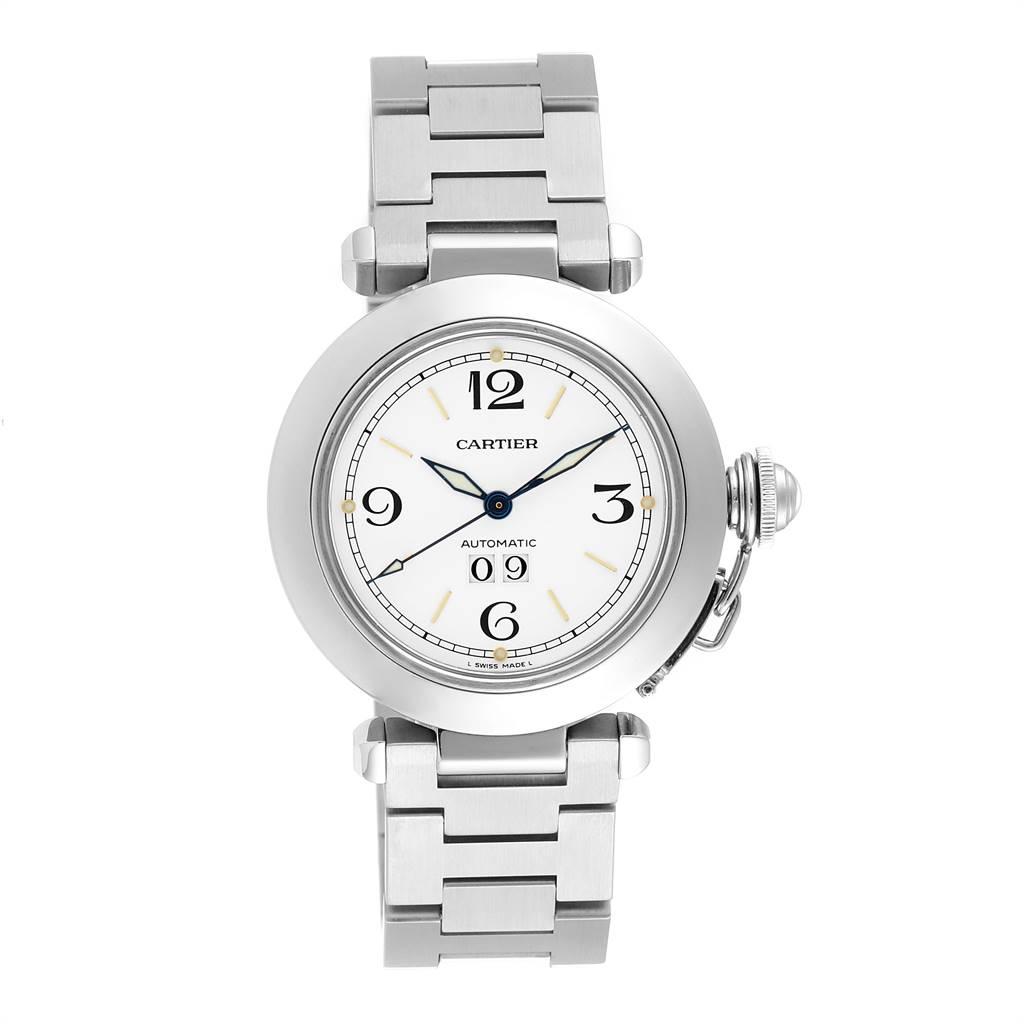 Cartier Pasha C Midsize Big Date Automatic Steel Unisex Watch W31044M7 SwissWatchExpo