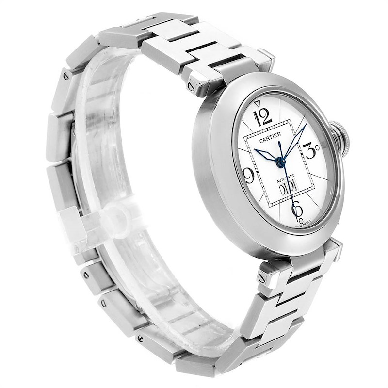 Cartier Pasha C Midsize Big Date Steel Watch White Dial W31055M7 SwissWatchExpo