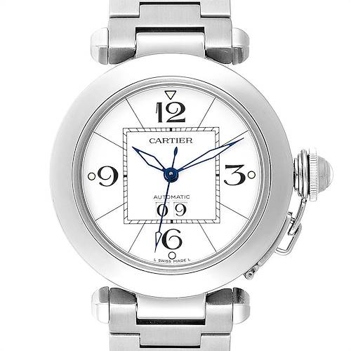 Photo of Cartier Pasha C Midsize Big Date Steel Watch White Dial W31055M7