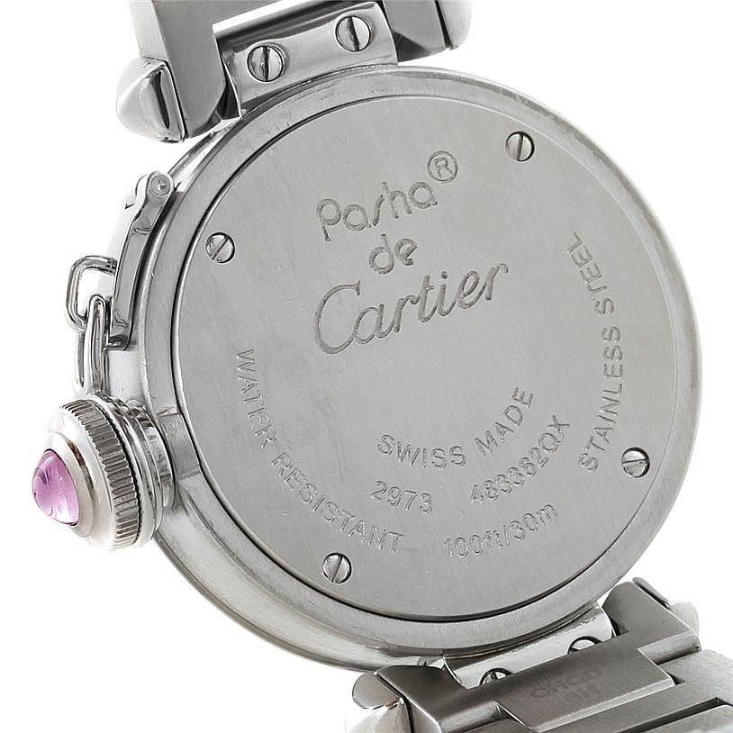 8054 Cartier Miss Pasha Small Steel Pink Dial Watch W3140008 SwissWatchExpo