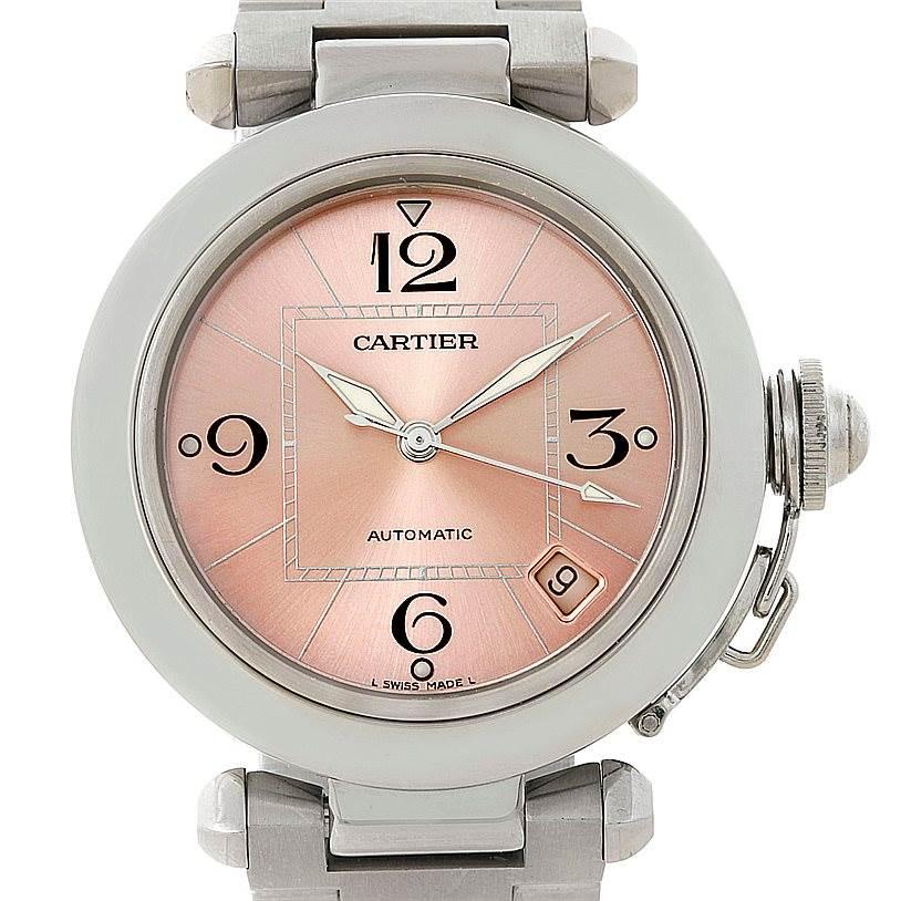 7755 Cartier Pasha C Steel Pink Dial Ladies Watch W31075M7 SwissWatchExpo