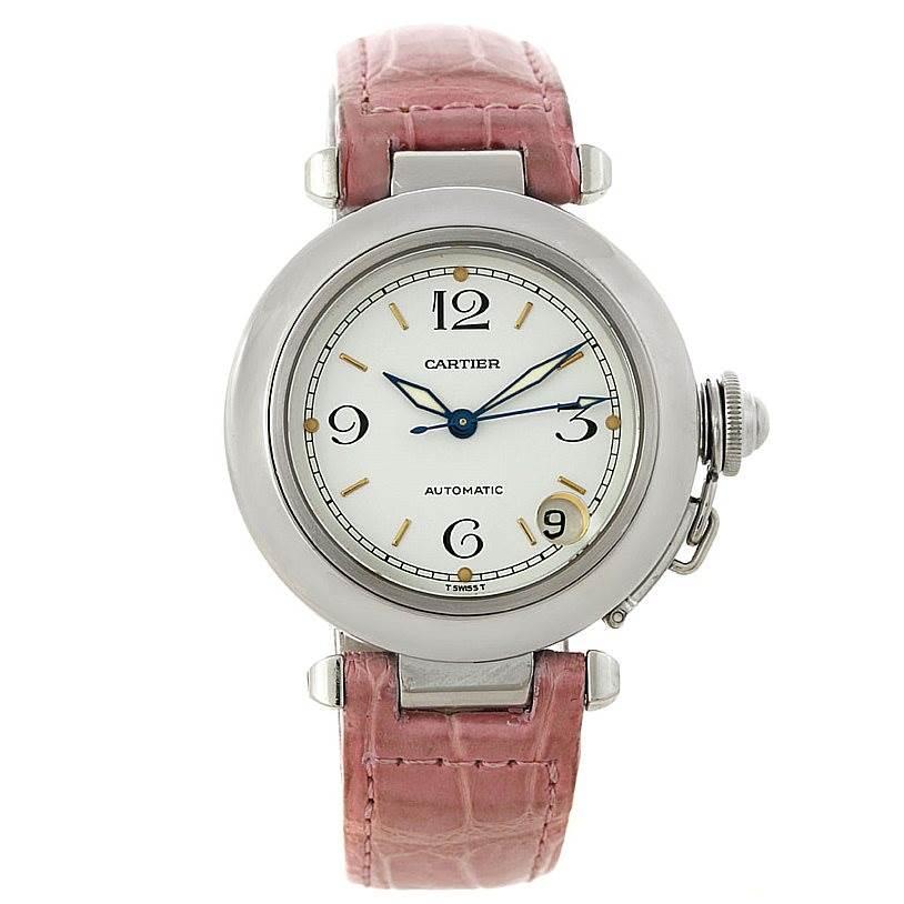 8090 Cartier Pasha C Automatic Midsize Steel Watch W31015M7 SwissWatchExpo