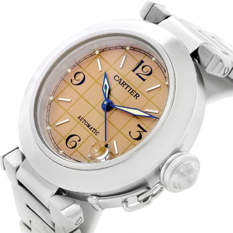 7205 Cartier Pasha C Steel Salmon Grid Dial Watch W31023M7 SwissWatchExpo