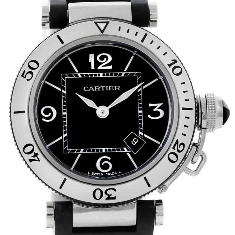 8794 Cartier Pasha Seatimer Steel Rubber Ladies Watch W3140003 Unworn SwissWatchExpo