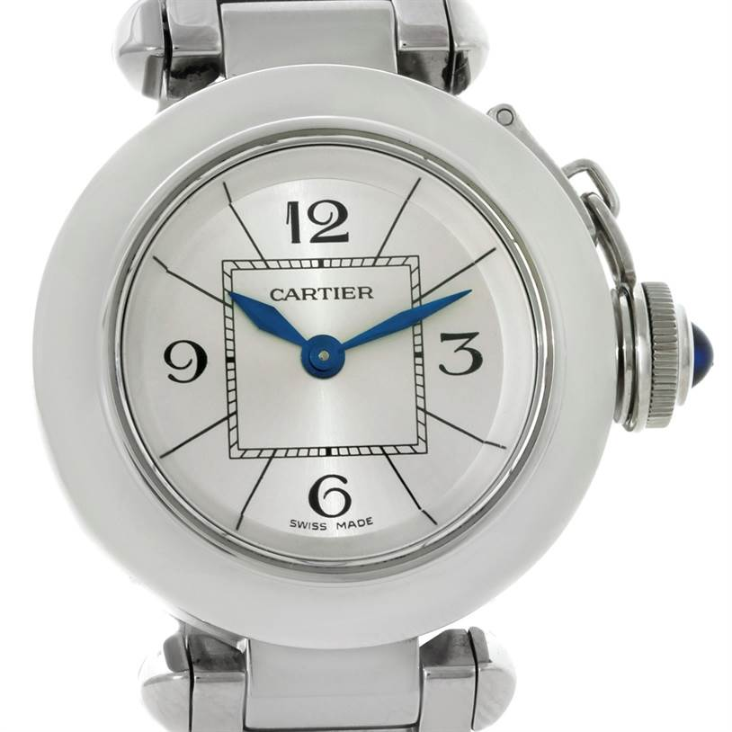 8546 Cartier Miss Pasha Silver Dial Small Steel Watch W3140007 SwissWatchExpo