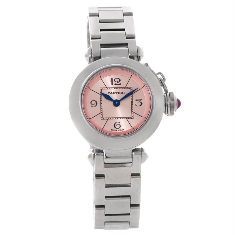 8780 Cartier Miss Pasha Small Steel Pink Dial Watch W3140008 SwissWatchExpo