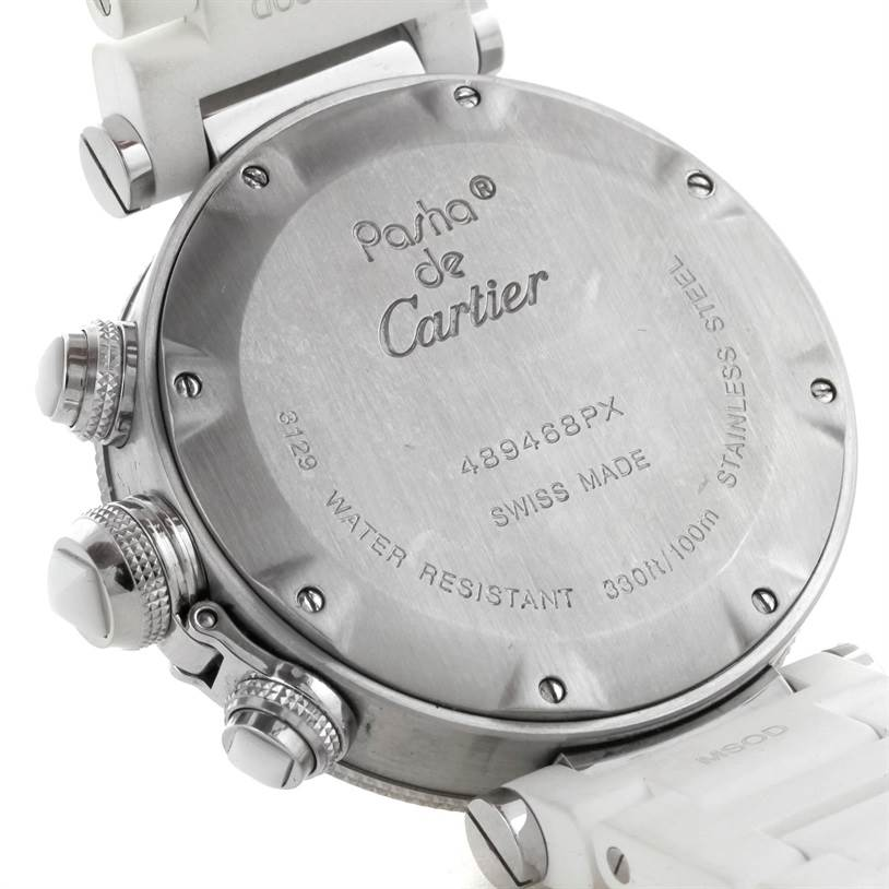 9421 Cartier Pasha Seatimer Steel Rose Gold Rubber Strap Watch W3140004 SwissWatchExpo