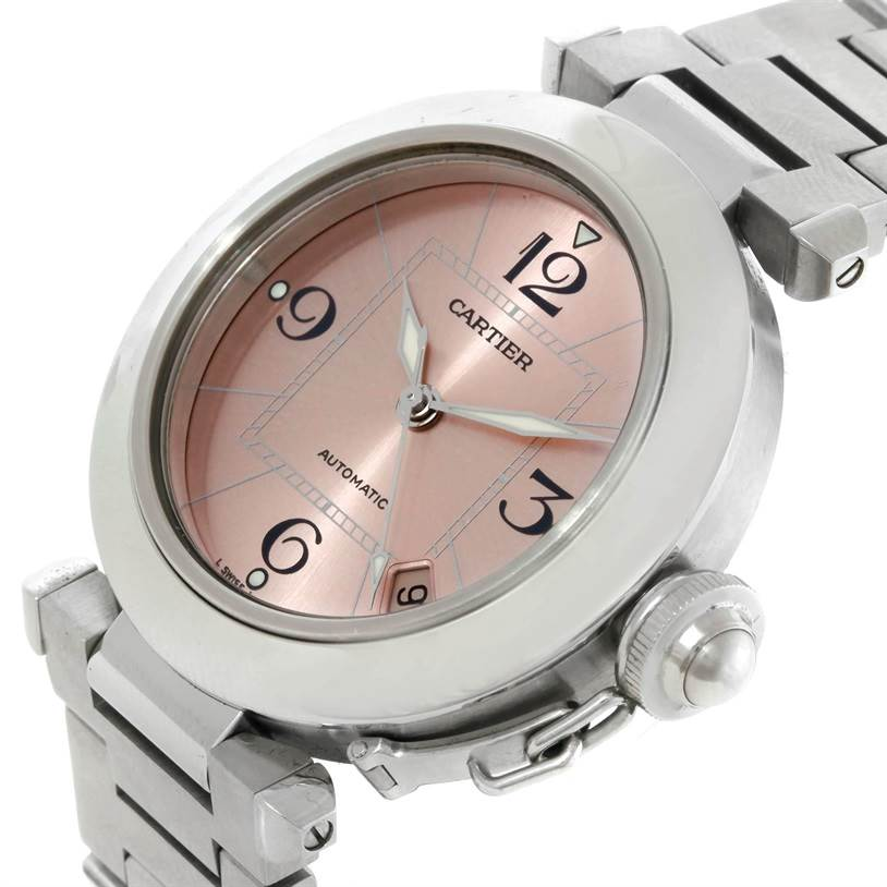 9423 Cartier Pasha C Steel Pink Dial Ladies Watch W31075M7 SwissWatchExpo