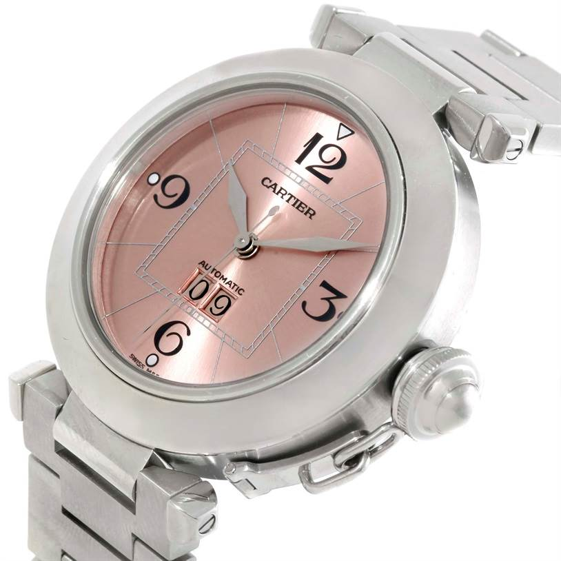 9791 Cartier Pasha Big Date Pink Dial Medium Automatic Steel Watch W31058M7 SwissWatchExpo