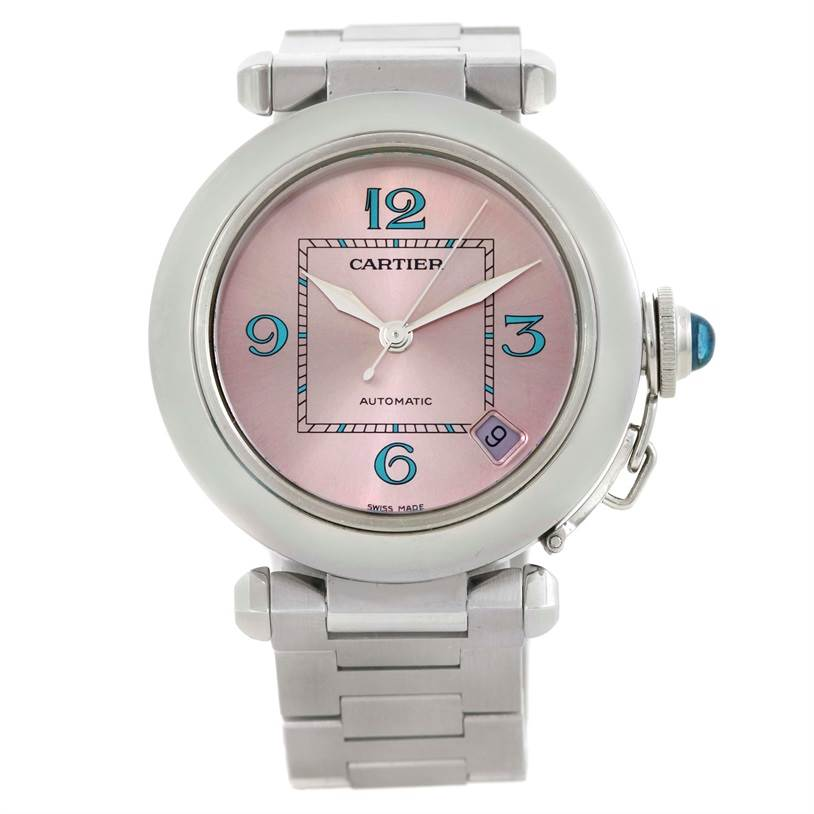9802 Cartier Pasha C Medium Pink Blue Dial Limited Edition Watch W3108199 SwissWatchExpo