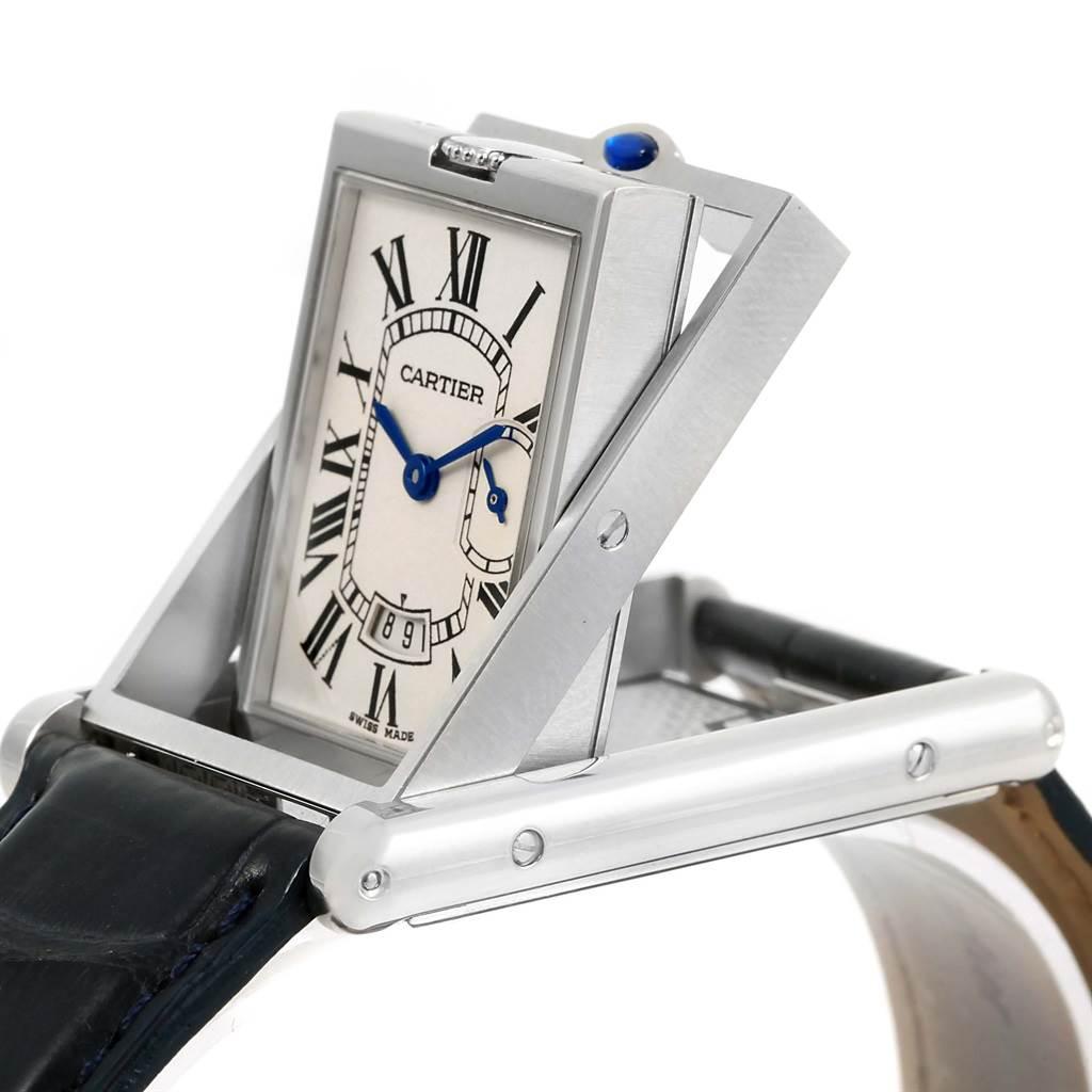 Cartier Tank Basculante Steel Silver Dial Mens Watch 2522 SwissWatchExpo