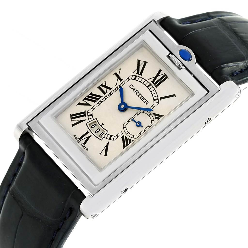 15394 Cartier Tank Basculante Steel Silver Dial Mens Watch 2522 SwissWatchExpo
