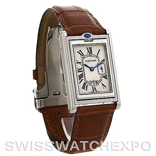2698 Cartier Tank Basculante Stainless Steel Large Quartz Watch SwissWatchExpo