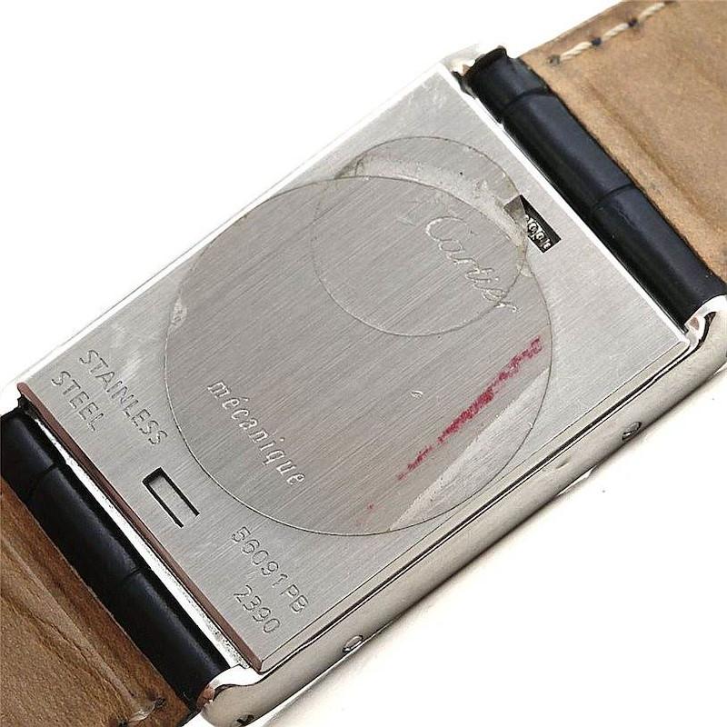 Cartier Tank Basculante Steel Large Mechanical Watch W1011358 SwissWatchExpo
