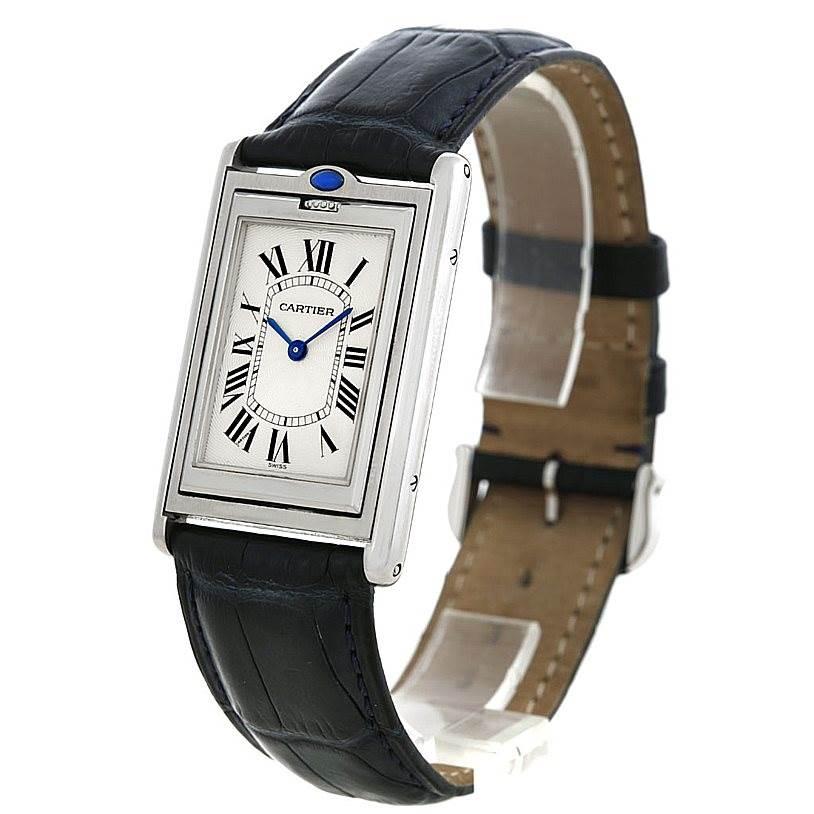 6216 Cartier Tank Basculante Steel Large Mechanical Watch W1011358 SwissWatchExpo