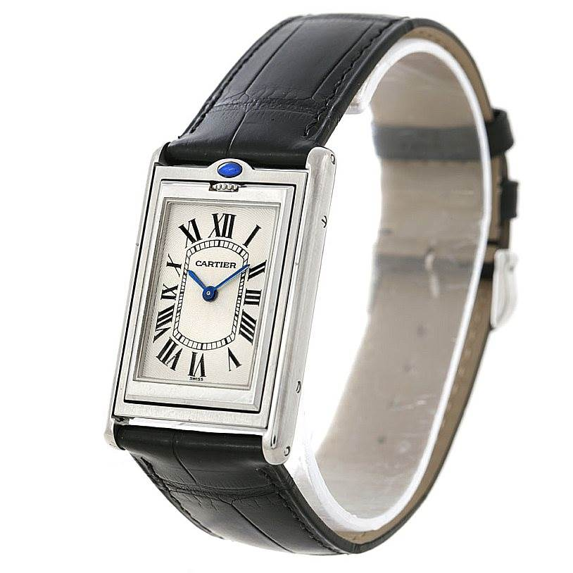 4582 Cartier Tank Basculante Steel Large Mechanical Watch W1011358 SwissWatchExpo