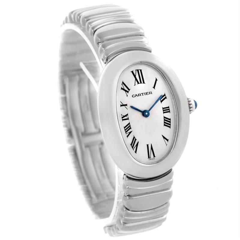 Cartier Baignoire Ladies 18k White Gold Watch W15133L2 SwissWatchExpo