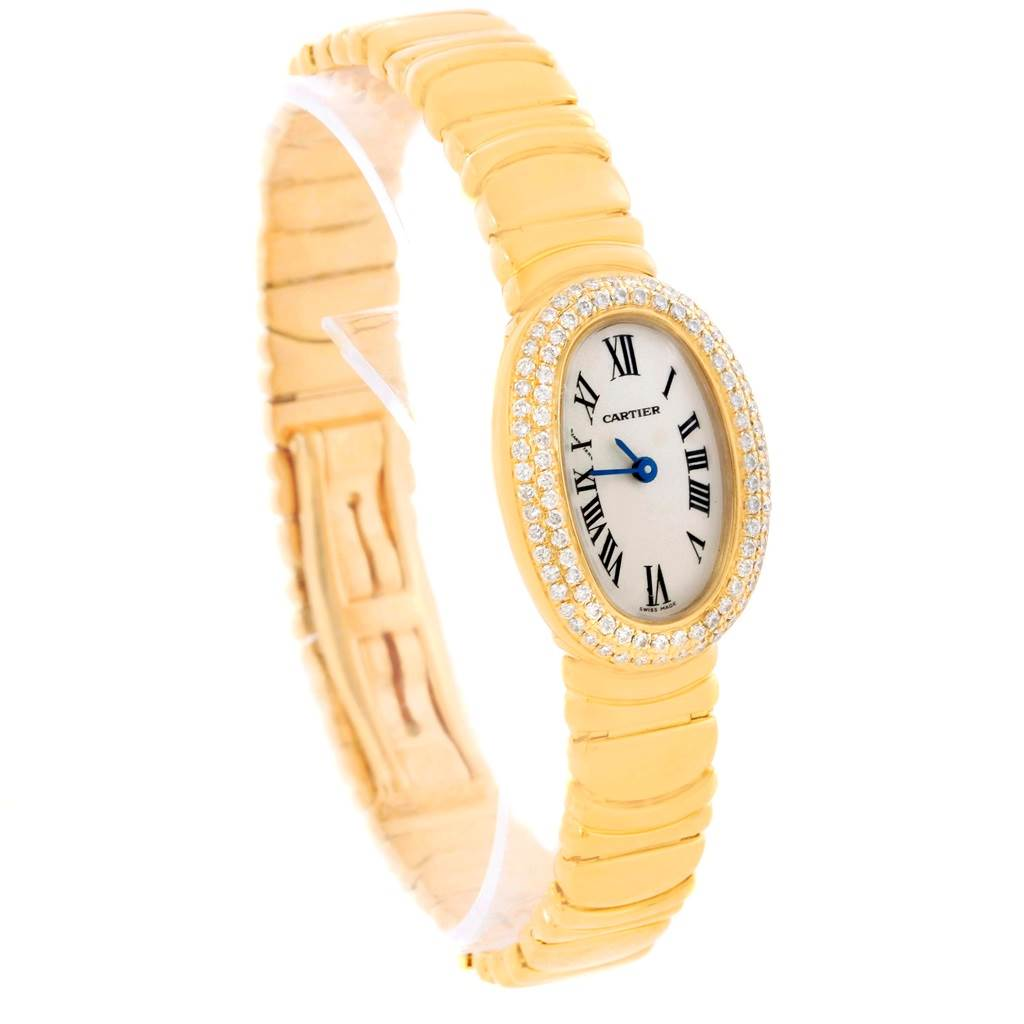cartier baignoire 18k yellow gold diamond ladies watch. Black Bedroom Furniture Sets. Home Design Ideas