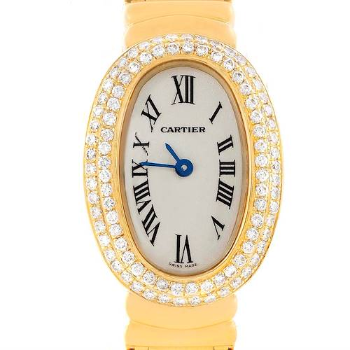 Photo of Cartier Baignoire 18K Yellow Gold Diamond Ladies Watch WB5094D8