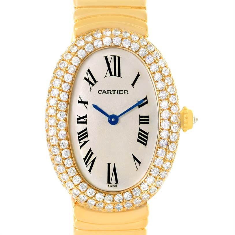 11914 Cartier Baignoire Joaillerie 18K Yellow Gold Diamond Ladies Watch 1950 SwissWatchExpo