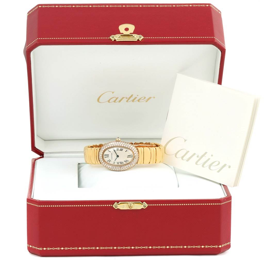 13756 Cartier Baignoire Joaillerie 18K Yellow Gold Diamond Ladies Watch 1950 SwissWatchExpo