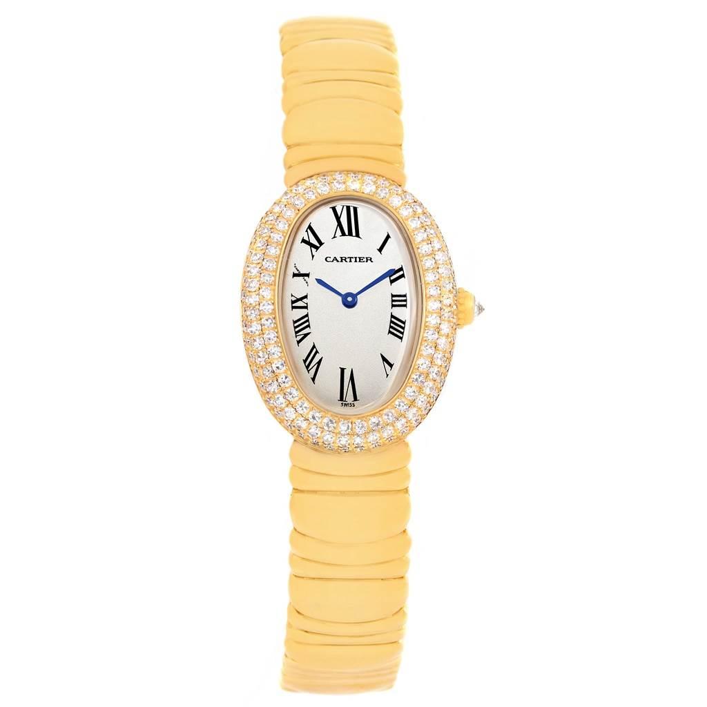 Cartier Baignoire Joaillerie 18K Yellow Gold Diamond Ladies Watch 1950 SwissWatchExpo