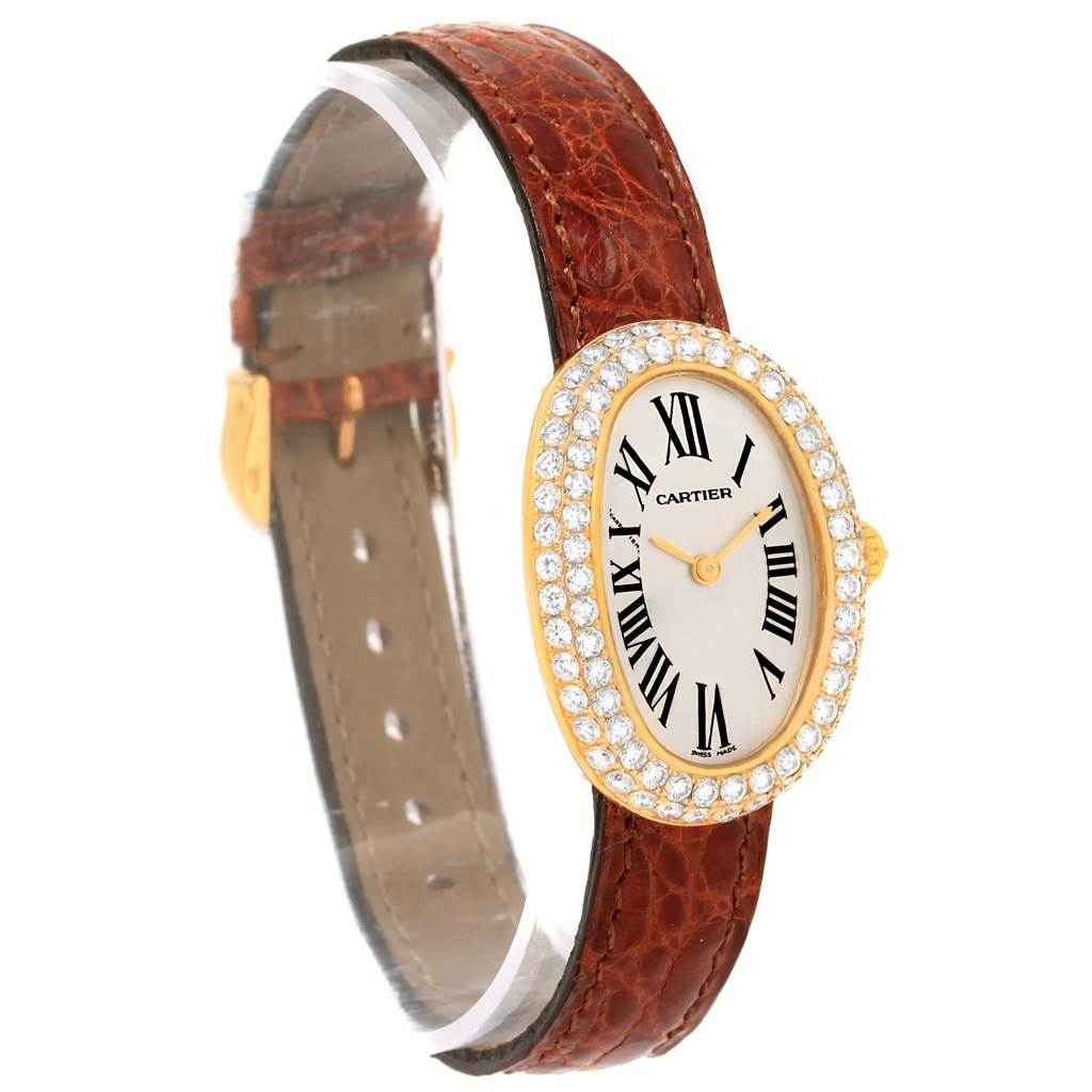 15055 Cartier Baignoire 18K Yellow Gold Diamond Ladies Watch 1954 SwissWatchExpo