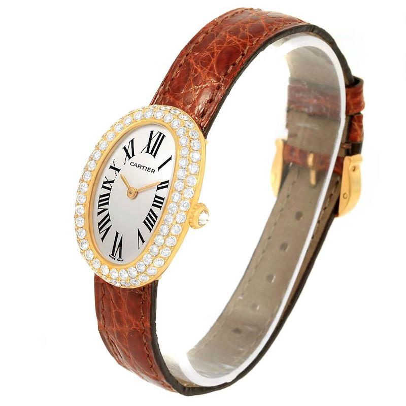 Cartier Baignoire 18K Yellow Gold Diamond Ladies Watch 1954 SwissWatchExpo